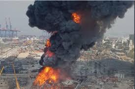 وقوع آتش سوزی گسترده در بندر بیروت بهمراه فیلم
