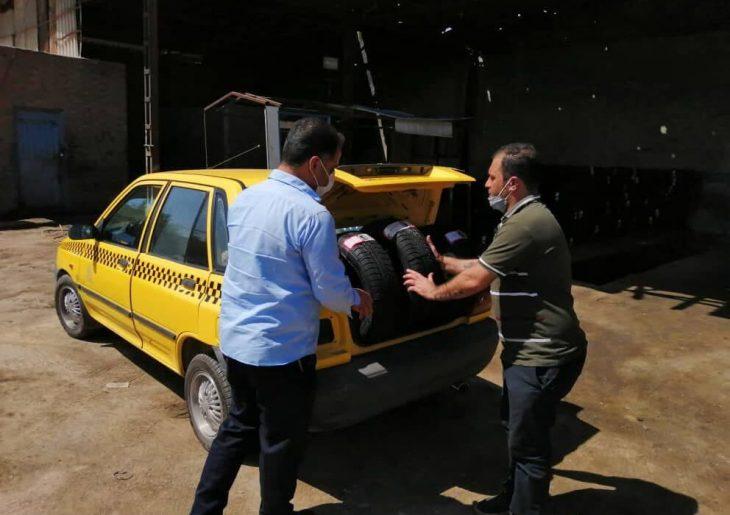 توزیع ۳۰۰ حلقه لاستیک دولتی بین رانندگان تاکسی شهری در مسجدسلیمان